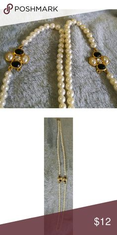 """White pearl beads with gold balck and white detail 23"""" long for a total of 46"""" all around Jewelry Necklaces"""