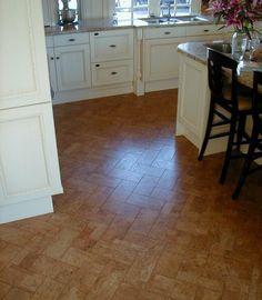 open shelves white kitchen - traditional - kitchen - cork floor in herringbone pattern