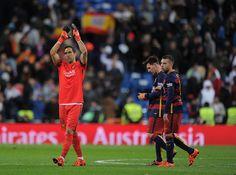 Claudio Bravo of FC Barcelona applauds after his team beat Real Madrid 4-0 in the La Liga match between at Estadio Santiago Bernabeu on November 21, 2015 in Madrid, Spain.