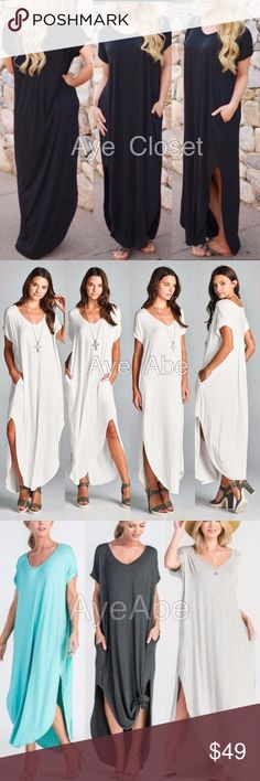 "Oversized loose fit slit long maxi dress pockets New boho chic maxi dress.Super comfy. Oversized, loose fit v-neck long maxi dress featuring side slits and side pockets. high quality and stretchy fabric. Runs big. And meant to be.  Measurements takes from size 1X Length: 58"" Chest: 34""  ❌price firm unless bundled⭕️ boutique Dresses Maxi"