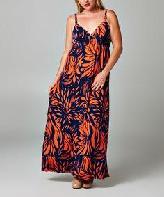 Christine V Navy & Orange Floral Surplice Maxi Dress - Plus   zulily
