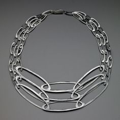 Love this minimal chain art jewelry necklace! Necklace | Heather Guidero. Oxidized sterling silver
