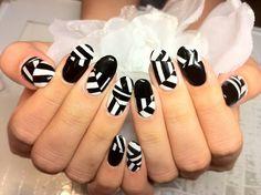 Black and white color block / geometric nail art design