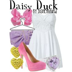 ♥ ♥ ♥ the pastel colors of this Daisy Duck outfit! The pink, yellow, and purple pop so well against the white dress in this Disneybound outfit! Disneybound Outfits, Lunch Date Outfit, Disney Dress Up, Disney Clothes, Donald And Daisy Duck, Disney Inspired Fashion, Disney Fashion, Disney Themed Outfits, Casual Cosplay