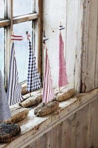 Rinden Botte, Segelschiffe mit Stoff und Treibholz DIY