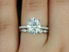 Darcy & Ember 14kt White Gold Oval FB Moissanite and Diamonds Cathedral Wedding Set (Other metals and stone options available)
