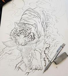 tattoos in japanese prints Japanese Tiger Tattoo, Japanese Tattoo Women, Japanese Tattoo Designs, Japanese Sleeve Tattoos, Tattoo Studio, Tattoo Drawings, Body Art Tattoos, Tattoo No Peito, Tiger Tattoo Design
