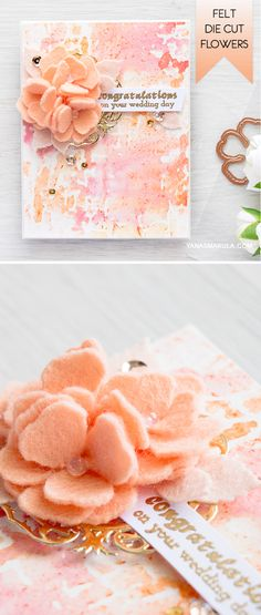 Create beautiful felt flowers with the help of Shabby Posies dies from Spellbinders and peach felt from WPlu9. For details and video tutorial, visit http://www.yanasmakula.com/?p=54370