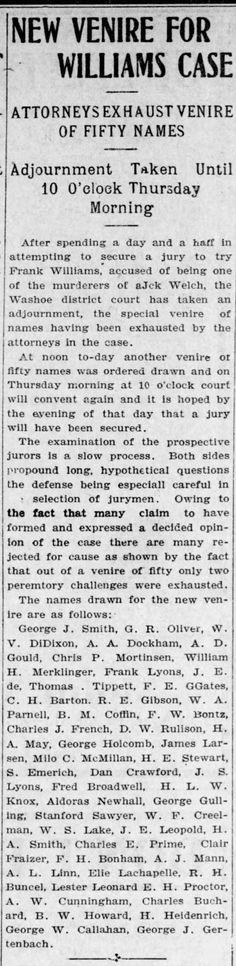 Reno Gazette-Journal, 17 Jan 1905, Tue, Main Edition  Robert Buncel's name drawn for jury duty in then Williams murder case