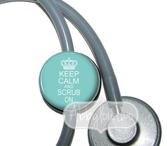 Stethoscope ID Tag  Name Badge Keep Calm and Scrub On Teal on Etsy, $7.99