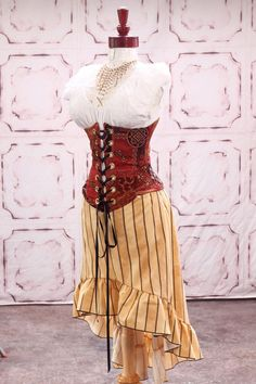 Coral and Black Floral Blocks Wench Corset and Yellow Striped Knee Length Stagecoach Skirt by Damsel in this Dress