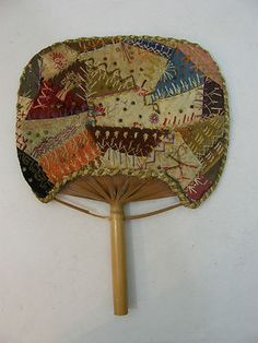 Victorian crazy quilt designed to fit over reed hand held fan ~~ one of a kind!