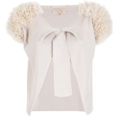 GIAMBATTISTA VALLI cropped cardigan ($908) ❤ liked on Polyvore featuring tops, cardigans, sweaters, outerwear, giambattista valli, white top, crop top, cut-out crop tops, cropped cardigan and short tops