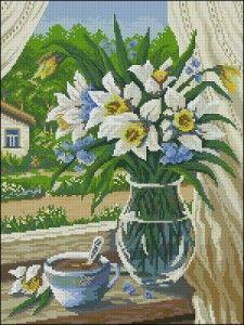 Rural landscape-free cross-stitch pattern | Cross-Stitch Club