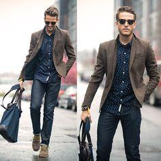 Fashion Brown Blue Menstyle Casual Style Moda Moda