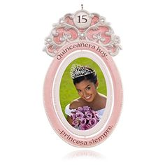 Hallmark Quinceanera Keepsake Ornament: She always has been and always will be your beautiful princess. Commemorate a very special year for all of you with this photo holder ornament. The pink frame spins to reveal a second photo or insert on the back. Baby First Christmas Ornament, Christmas Ornaments, Quinceanera Party, Photo Holders, Hallmark Ornaments, 5 D, Accent Decor, Party Themes, Christmas Decorations