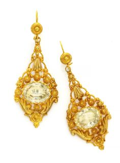 A Pair of Georgian Gold and Citrine Ear Pendants. Available at FD Gallery.  www.fd-inspired.com