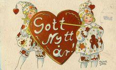 "Artist, Adina Sand.... ""Happy New Year"" ... Swedish postcard."