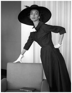 Dorian Leigh in a silk and wool dress by Jacques Fath. Photo  Georges  Dambier 0f50467ed61d