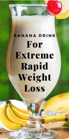 Powerful Banana Drink For Extreme Weight Loss - Diet & Weight Loss - Detox Weight Loss Drinks, Weight Loss Smoothies, Banana Recipes For Weight Loss, Drinks To Lose Weight, Fast Weight Loss Tips, How To Lose Weight Fast, Weight Gain, Lose Fat, Rapid Weight Loss