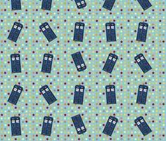 blue star tardis fabric by scrummy on Spoonflower - custom fabric