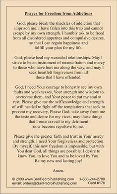 Freedom From Addictions Prayer Card - Catholic Artwork