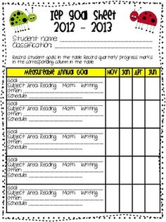 Goals - Progress Monitoring IEP Goals - Progress Tracking Make with each students goalsIEP Goals - Progress Tracking Make with each students goals Classroom Organisation, Teacher Organization, Teacher Tools, Teacher Resources, Classroom Ideas, Self Contained Classroom, Student Goals, Progress Monitoring, Multiple Disabilities