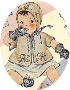 Vogart 126 Booties, Mittens pattern and Lambs for embroidery designs. A 1950s hand embroidery design.