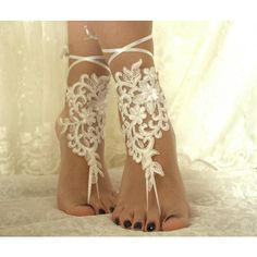 İvory lace.Barefoot Sandals, french lace, Nude shoes, Foot... (545 UAH) ❤ liked on Polyvore featuring shoes, sandals, bridal sandals, bride shoes, lace shoes, lace anklets and lace sandals