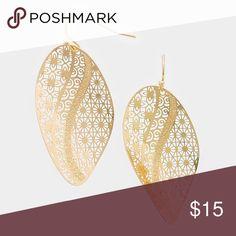 "Trendy laser cut earrings • Style No : 304075-1 • Color : Gold • Theme : Flower & Leaf  • Size : 1"" W, 2"" L  • Fish Hook Back • Metal leaf earrings Farah Jewelry Jewelry Earrings"
