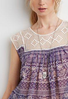 Grid Crochet-Paneled Paisley Top
