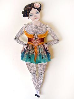 Victorian Tattooed Gal Paper Puppet Doll by crankbunny on Etsy, $20.00