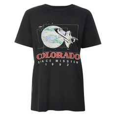 Tee & Cake Colorado Mission T-Shirt ($30) ❤ liked on Polyvore featuring tops, t-shirts, topshop tops, graphic design t shirts, graphic print t shirts, graphic design tees and graphic tees