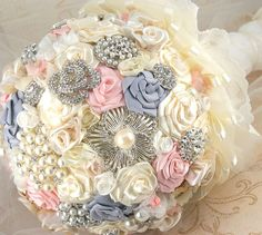 jeweled wedding bouquets | Brooch Bouquet Wedding Bouquet Jeweled Bouquet in Blush Pink, Cream ...
