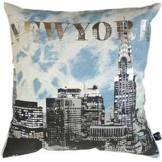 Pillow Cover Denim Jeans Hand Screen Printed #city print #city theme #new york city