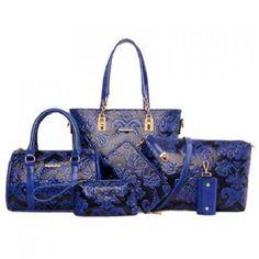 Elegant Embossing and Metallic Design Shoulder Bags