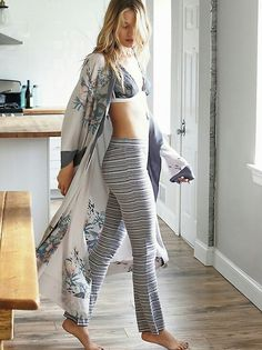 Wow with the pow silk robe, free people