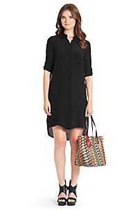 The Prita in black is a relaxed shirt dress with endless possibilites. http://on.dvf.com/1eLkmXu