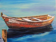 My rendition of an old, rustic row boat was a fun departure from my seashells. Old Boat 36x48 acrylic