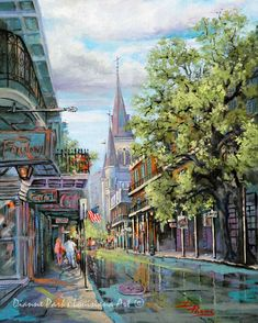 New Orleans Art St Louis Cathedral Impressionist Painting Of Chartres Street French Quarter Vieux Carré Rain
