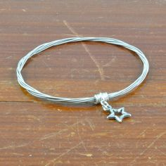 Guitar String Star Charm Bangle by GuitarStringJewelry on Etsy