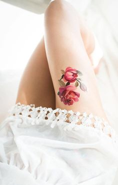 Watercolor Rose Thigh Tattoo for Women - MyBodiArt.com