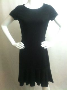 Lauren Ralph Lauren Black Short Sleeve Shift Dress W/Flare Hem Size Small #LaurenRalphLauren #Casual