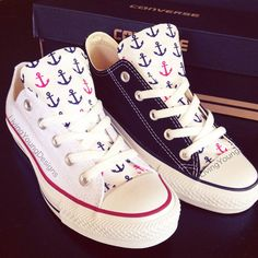 7e592bf0861183 I m really into converse now. These are white and blue converse with anchors  on the tounge!