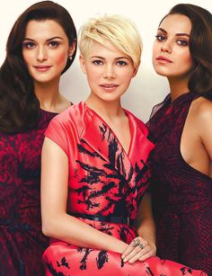 Rachel Weisz, Michelle Williams and Mila Kunis in Instyle magazine March 2013 - I LOVE Michelle Williams's hair in this photo spread! Rachel Weisz, Mila Kunis, Instyle Magazine, Women Pixie Cut, Pixie Cuts, Short Hair Cuts, Short Hair Styles, Photo Glamour, Blonde Pixie