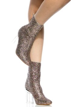 Multi Glitter Chunky Translucent Ankle Booties @ Cicihot. Booties spell style, so if you want to show what you're made of, pick up a pair. Have fun experimenting with all we have to offer!