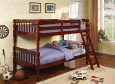 Twin Size Bunk Bed with Ladder in Cherry Finish $174.00