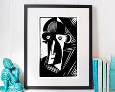 Cubism Man Block Print, Giclee Print, Modern Black & White Decor, 5x7 8x10 11x14 16x20 18x24 24x30 Art Poster, Minimalist Decor, Primitive