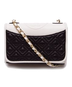 Another great find on #zulily! Black & New Ivory Fleming Mini Leather Shoulder Bag #zulilyfinds