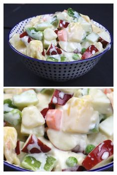 Russian salad is scrumptious & totally like a perfect meal for breakfast, lunch or dinner. It is very creamy and tangy & healthy meal option. Indian Food Recipes, Vegetarian Recipes, Cooking Recipes, Healthy Recipes, Raitha Recipes, Recipies, Russian Salad Recipe, Russian Recipes, Indian Salads